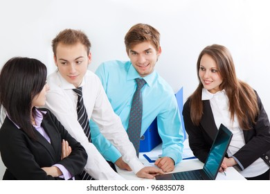 young business people happy smile talking, businessmen and women sitting at desk office discussing during working day, businesspeople paperwork