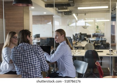 young business people at modern office workplace  getting social in free time