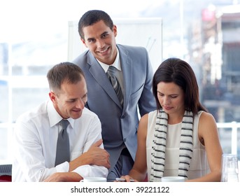 Young business people working together in office