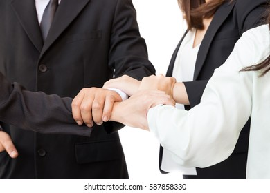 Young business shaking hand and circle holding together. Team work collaboration relation concept successful and encourage.