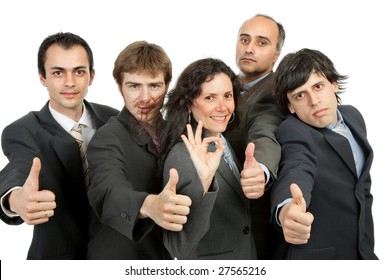 young business team going thumbs up, isolated on white