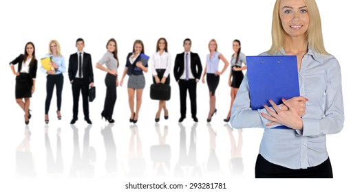 Young business team on white