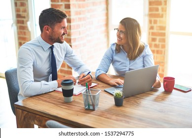 Young business team of woman and man working together at the office