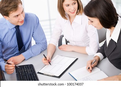 Young business team working at the office