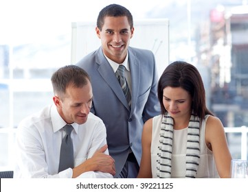 Young business team working together in office