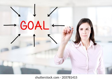 Young business woman access the goal. Office background.