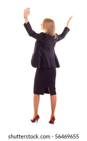 Young business woman with arms raised isolated on white