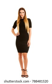 young business woman in black dress isolated over white background full length photography