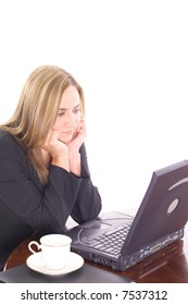 young business woman bored on the computer