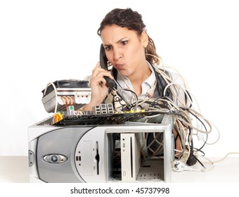 young business woman calling technology support for the broken computer