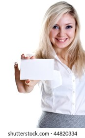 young business woman with business card on a white background