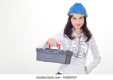 Young business woman chooses the proper tool