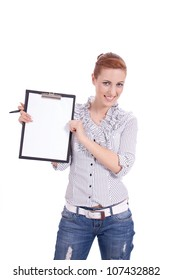 young business woman with clipboard isolated on white