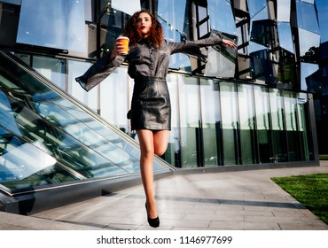 Young Business Woman With Coffee