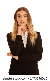 Young business woman in business dress isolated over white background