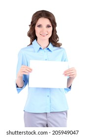 Young business woman with empty paper  isolated on white