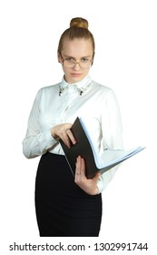 Young business woman with a folder, on a white background. Looking at the camera. Studio photography.