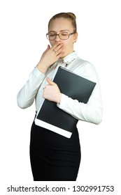Young business woman with a folder, on a white background. Studio photography.