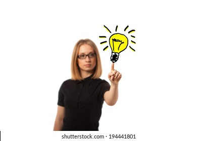 Young business woman get an IDEA