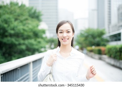 young business woman going to work