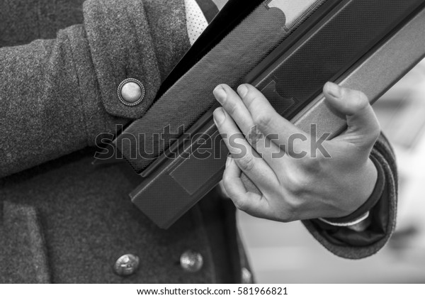 Young Business Woman Hands Holding Folders on the Street