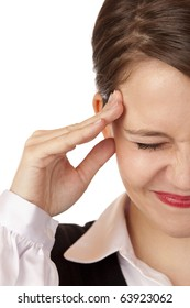 Young business woman has strong migraine. Isolated on white background.