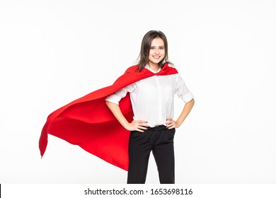 YOUNG business woman have large ambition dreaming become superhero solving all difficulty problem about the world showing isolated on the white background