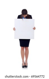 Young business woman holding blank sign isolated on white