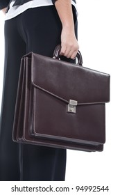 young business woman holding a briefcase