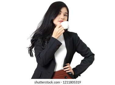 young business woman holding coffee with white background