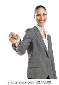 young business woman holding key