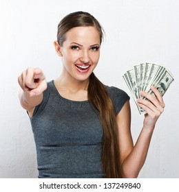 young business woman holding money