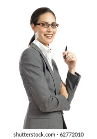 young business woman holding pen