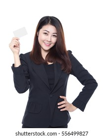 Young business woman holding white card in hand isolated on white background, smart credit card concept