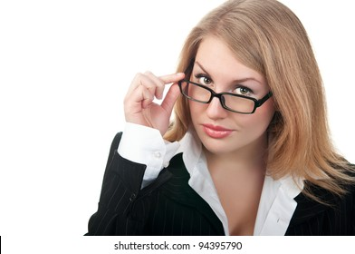 young business woman isolated on a white background