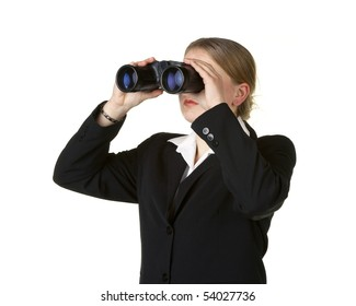 young business woman looking through binoculars isolated on white background