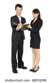 Young business woman and business man
