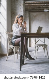 young business woman office indoors sitting desk using computer - remote working, technology, business concept