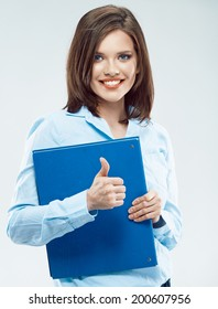 Young business woman with paper folder show thumb up.