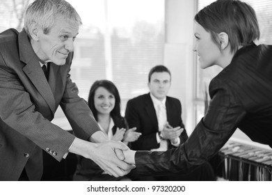 Young business woman passed on a job interview