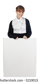 Young Business woman posing with poster