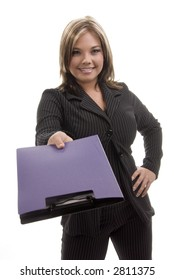 Young business woman presenting a purple portfolio