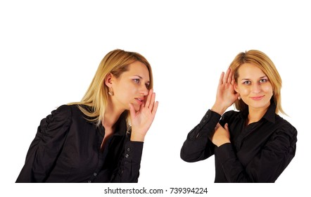 young business woman say and other woman listening
