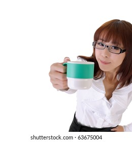 Young business woman share cup of coffee with copyspace on white.