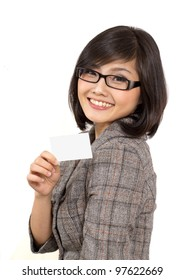 young business woman showing blank business card