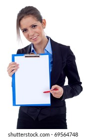 Young business woman showing clipboard, isolated on white