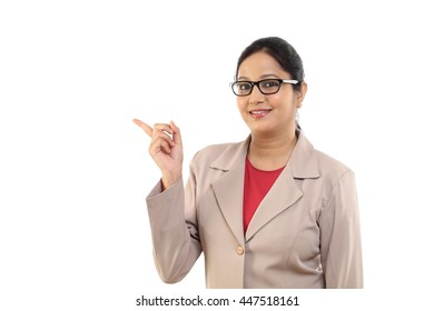 Young business woman showing copy space