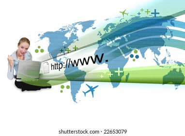A young business woman is sitting on the ground with a laptop and an abstract internet address is popping out with a map and binary code.