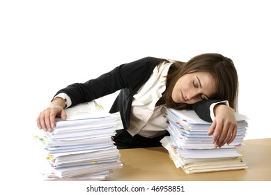young business woman sleeping on her files