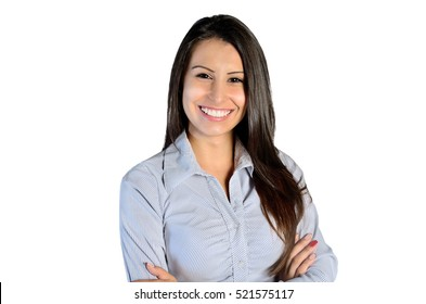 young business woman smile on white background